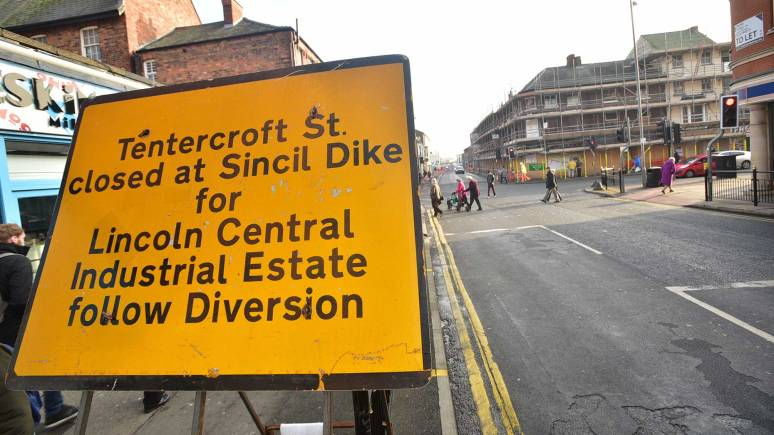 Diversions in place surrounding Tentercroft Street. Photo: Steve Smailes for The Lincolnite