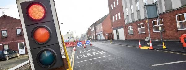 Temporary traffic lights along Tentercroft Street. Photo: Steve Smailes for The Lincolnite