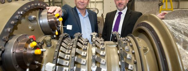 Turbine Efficiency's CEO Alan Hawkins and Yorkshire Bank's business development manager David Burgess at Turbine Efficiency's premises in Witham St Hughs.