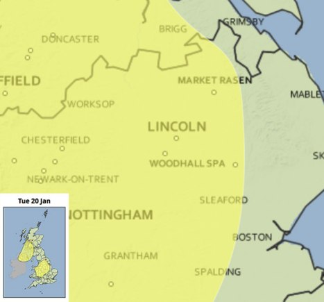 Met Office yellow weather warning for snow, issued on Tuesday, January 20.