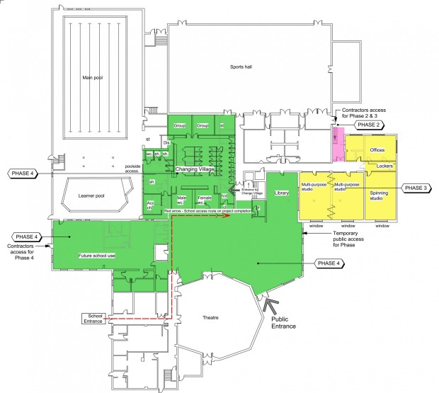 A plan of the areas allocated for improvements on the ground floor of the centre. Image: NKDC