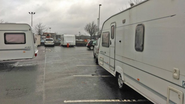 A number of caravans stayed overnight at Lincoln Morrisons. Photo: The Lincolnite