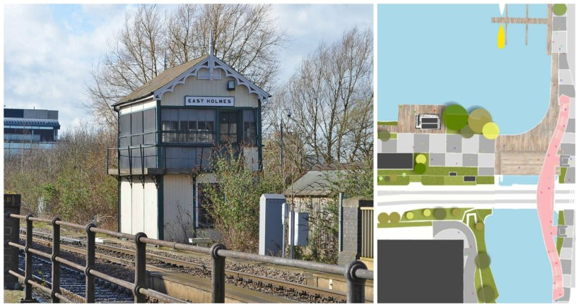 The listed signal box would be moved onto a concrete pad close to the Brayford's edge.