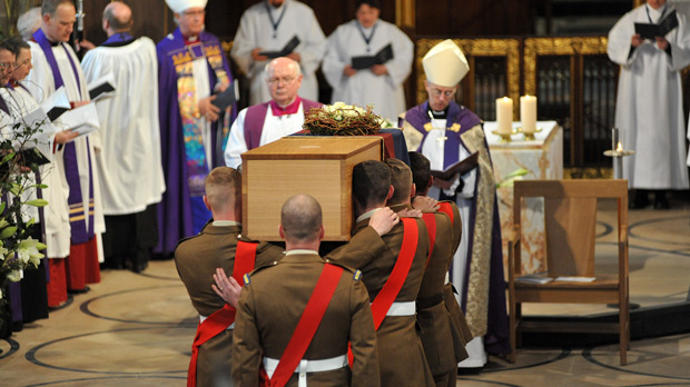 Colour Sergeant Wayne Sheils and Sergeant Matt Hardy also helped the Bearer Party lower the coffin into a specially designed tomb in front of the Cathedral altar.