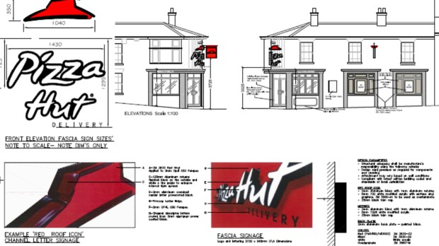The designs submitted for the new Pizza Hut Delivery outlet.