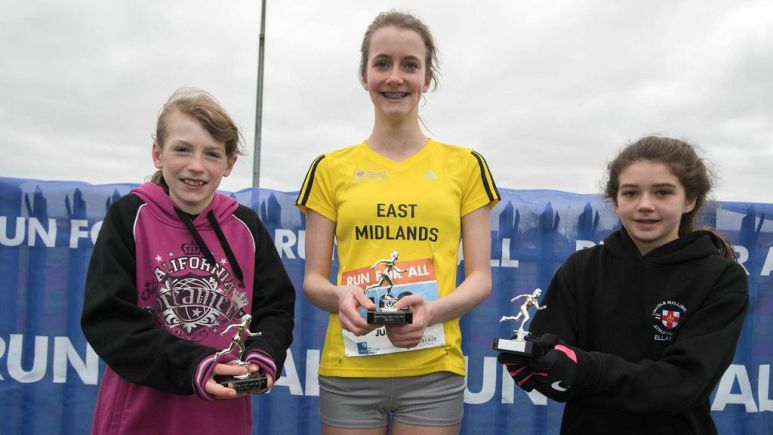 Junior Run winners Lucy Thornton, Rachel Nealon and Ellanor Brown. Photo: Steve Smailes for The Lincolnite