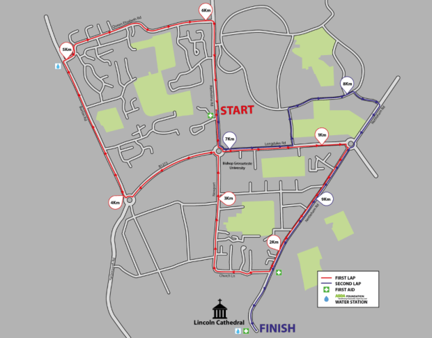 The 2015 Lincoln 10k route map. Click to enlarge.