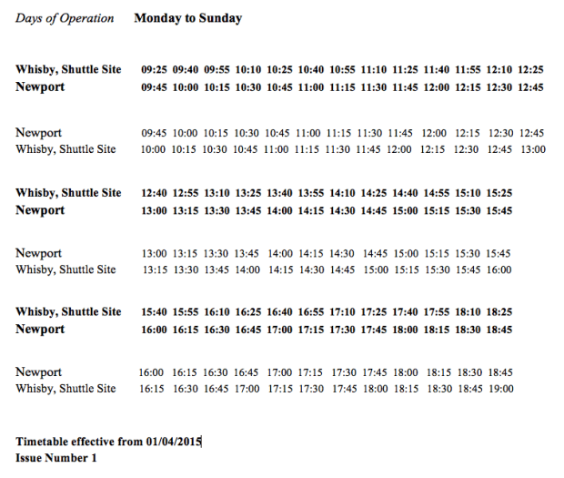 The Lincoln Castle Shuttle Buss timetable.