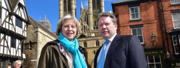 Home Secretary Theresa May with Lincoln MP Karl McCartney in 2015. Photo: Steve Smailes for The Lincolnite