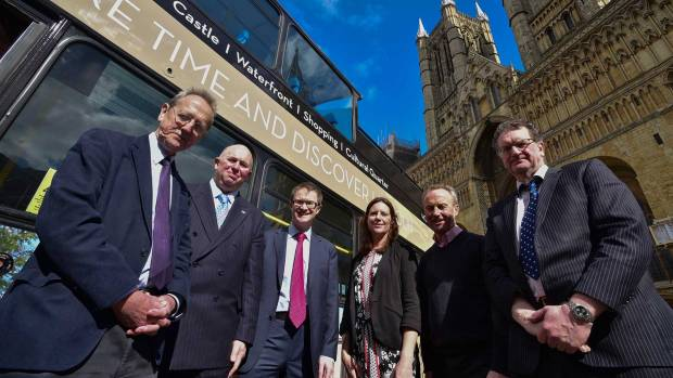 Leader of the City of Lincoln Council Ric Matcalfe, Lincolnshire County Councillor Colin Davie, David Horne of Virgin Trains East Coast, Emma Tatlow from Visit Lincoln, Michael Armstrong, John Plumridge from the University of Lincoln. Photo: Steve Smailes for The Lincolnite