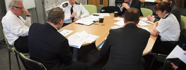 Policing Minister Mike Penning with members of Lincolnshire Police and Lincoln MP Karl McCartney.. Photo Lincolnshire Police