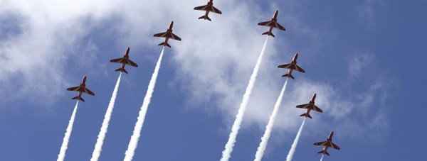 The Red Arrows in the skies above RAF Scampton in Lincolnshire. Photo RAF Red Arrows