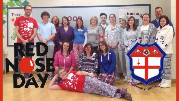 Staff at Saint Lawrence Primary School on Skellingthorpe Road celebrating Red Nose Day
