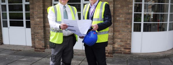Brian North, Site Manager for Robert Woodhead, with Fred Robson, Head of Estates at BGU