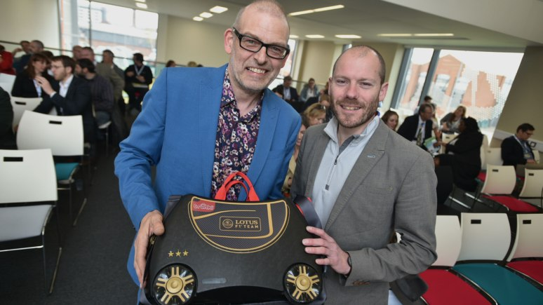 Glen Le Santo, International Social Media and Blog Manager at Orange Business Services and Rob Law, Creator and CEO of Trunki (right). Photo: Steve Smailes for The Lincolnite