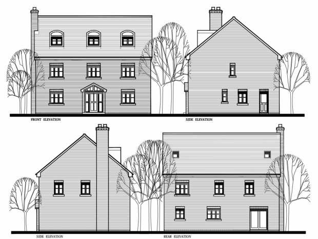 Elevation plans for the five-bedroom houses proposed