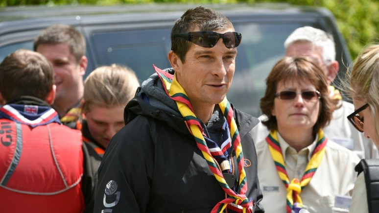 Adventurer Bear Grylls presented British Paralympian basketball player and Lincolnshire Scouts Ambassador, Richard Sargent, with the highly prestigious Cornwell Scout award at Hykeham Water Sports Centre.