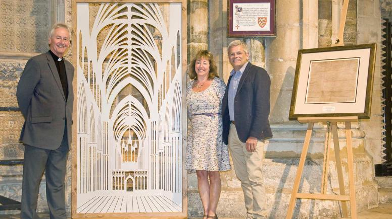 Dean of Lincoln Cathedral with Mel and Martin Holliday, Founders of Chiselwood, presenting the Screen.