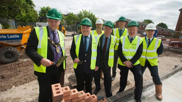 Left to right: Councillor Andrew Kerry, Councillor Eddie Strengiel, Alan Coole (empa), Councillor Pete West, Alistair Taylor (Woodhead Living), Bob Ledger (Director of Housing  and Community Services), and Michael Broadhurst (Woodhead Living). Photo: Steve Smailes for The Lincolnite