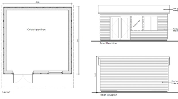 Initial designs for the proposed West Common cricket pavilion.