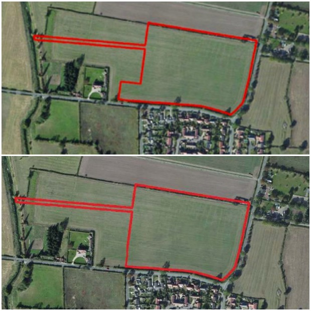 The previous site outline for 120  homes in Bassingham, compared with the new 98-hone plan site.