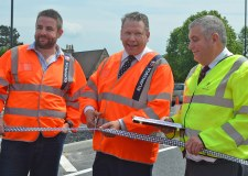 (L-R) Executive County Councillor for Transport Richard Davies, Lincoln MP Karl McCartney and Special Projects Manager Alan Airstrip cutting the ribbon and opening Canwick Road.