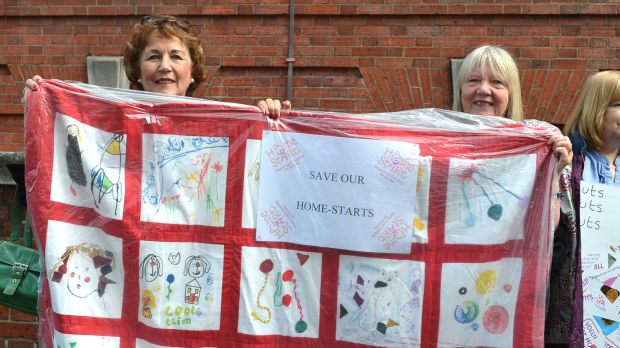 Linda Nixon and Christine Sharp from Home-Start brought with them art work by the children helped by the scheme.