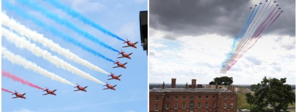 Red Arrows flypast Collage