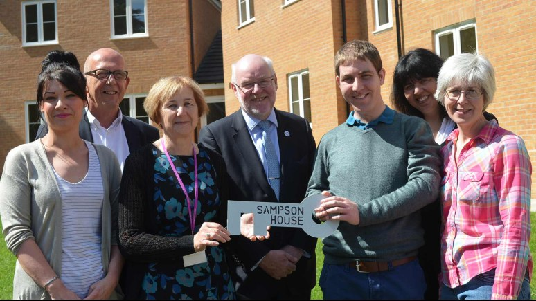 Left to right: Jessica Thomas (Waterloo Housing Group), Rex Richardson (Director of Care Services at Linkage), Sue Taylor (Linkage Care Services), Ges Roulstone (Linkage Chief Executive), Philip Williams, Helen Ritchie (City of Lincoln Council), and Judith Williams