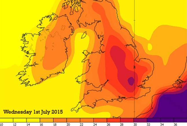 The temperature chart for Wednesday, July 1, 2015. Image: Met Office