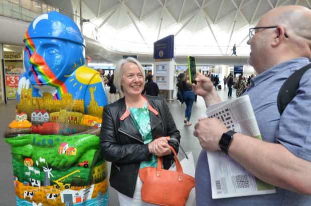 The barons attracted lots of attention at King's Cross, promoting the events in Lincoln this summer.