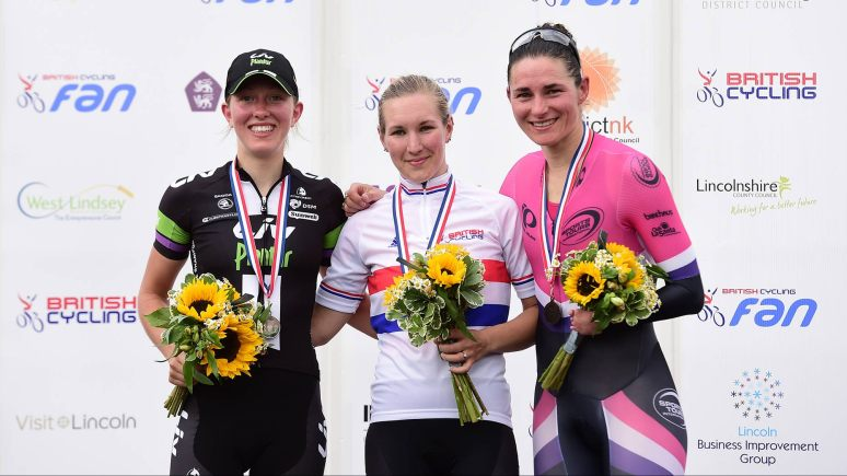 Molly Weaver of Liv-Plantur, Hayley Simmonds of Team Velosport and Dame Sarah Storey of Pearl Izumi celebrate on the podium after the Elite Women race. Photo: Alex Broadway/SWpix.com