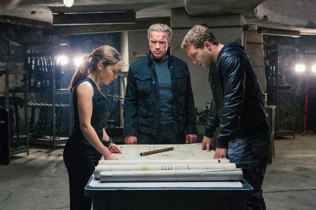 Arnold Schwarzenegger, Jai Courtney and Emilia Clarke in Terminator Genisys (2015). Photo: Paramount Pictures