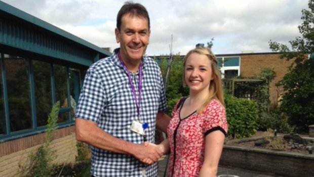 Hannah Miles with NK Headteacher Martin Connor. Hannah is taking  up a place at LABAN in London, one of the leading Dance schools in Europe