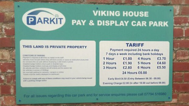 The full parking rates for the new car park at Viking House