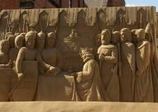 The giant Magna Carta sand sculpture