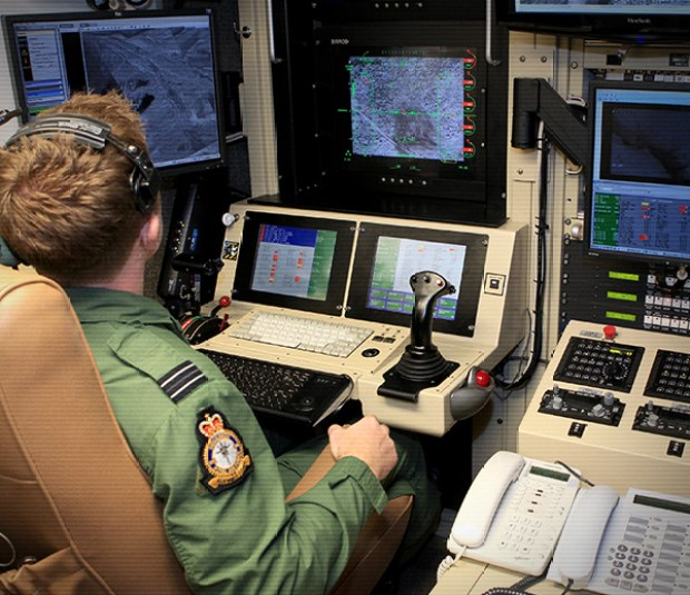 Inside drone control at RAF Waddington. Photo: MoD