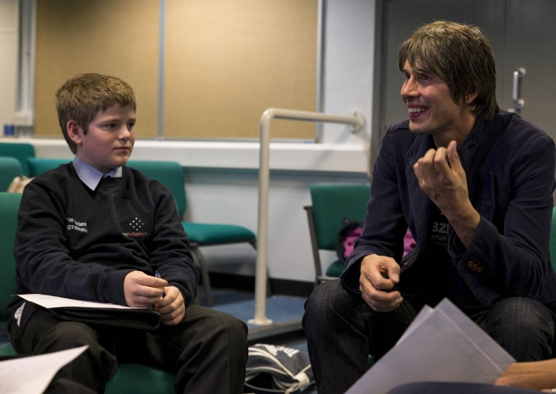 Professor Brian Cox with JET student.
