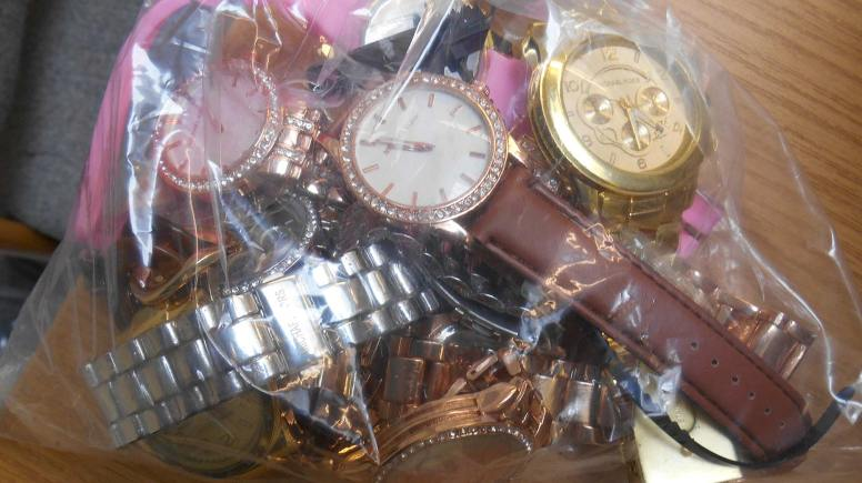 Counterfeit watches seized.