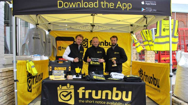 Paul Gascoigne (centre) with local businessmen Dominik and Cameron Jackson at the launch of Frunbu