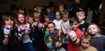 Josh Warrington visits Bracebridge Boxing Club. Photo: Steve Smailes for The Lincolnite