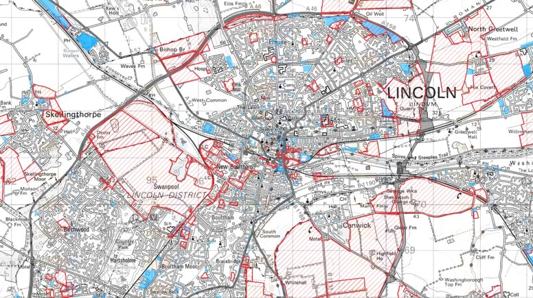 Sites in Lincoln (red) outlined for possible development as part of the draft local plan.