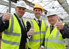 Councillor Colin Davie Executive Member for Economic Development at Lincolnshire County Council, Tom Blount Director of LSIP and David Dexter Vice Chair of the Greater Lincolnshire LEP at the demolition site