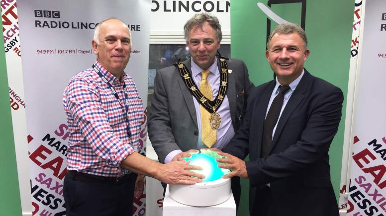 BBC Radio Lincolnshire Editor Charlie Partridge; Mayor of Lincoln; Andy Kerry and Ford Ennals, CEO, Digital Radio UK