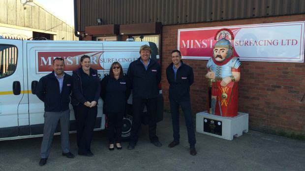 Staff from Minster Surfacing Ltd posing with the Lindum Soldier Baron