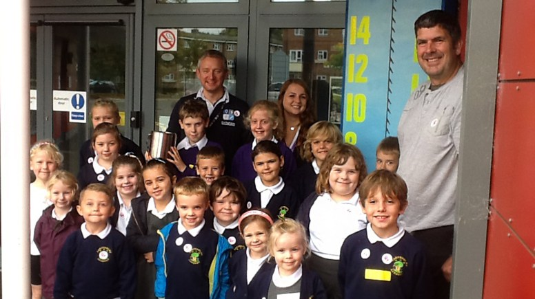 Y6 pupils who are on the Solar Schools Team, along with Aimee Horton, the school's Chair of Governors.