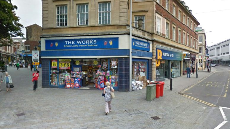 The Works on Lincoln High Street was damaged with what's thought to be a wheelie bin.