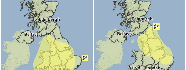 The yellow warning forecast for October 6 and 7