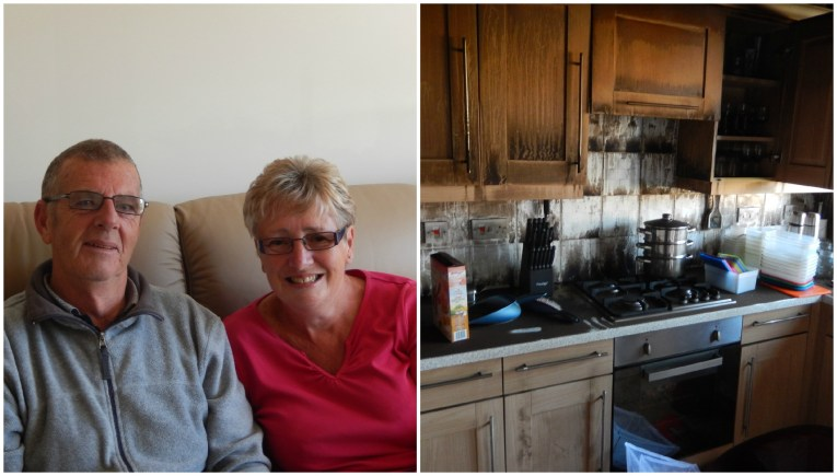 Brian and Barbara Milne were forced to flee their home when their fridge-freezer burst into flames.