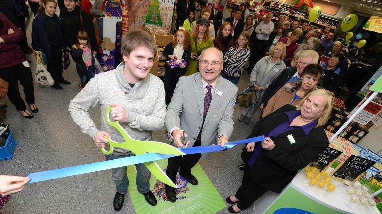 (From left) Liam Ray, Chairman of the store's Community Champion Wragby Players, Lincolnshire Co-op's Vice President Stuart Parker and Store Manager Julie Thacker. Photo: Stuart Wilde